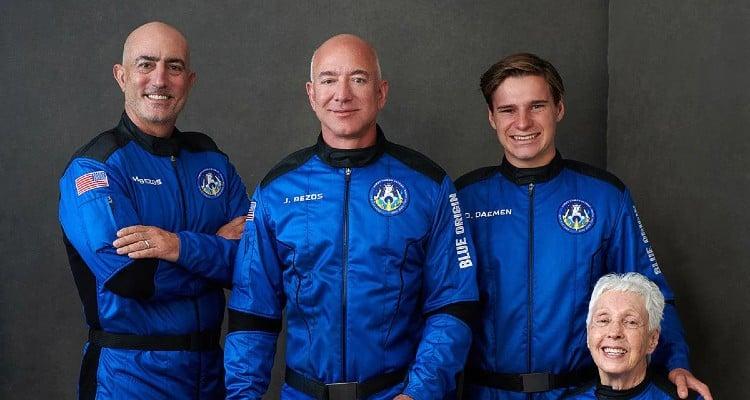 Jeff Bezos blasts off into suborbital space.